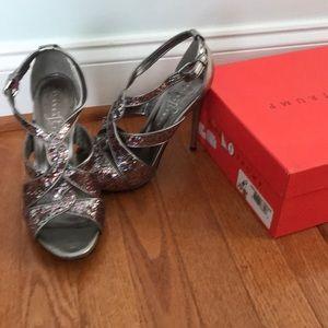 Ivanka Trump multi-color glitter and pewter heels